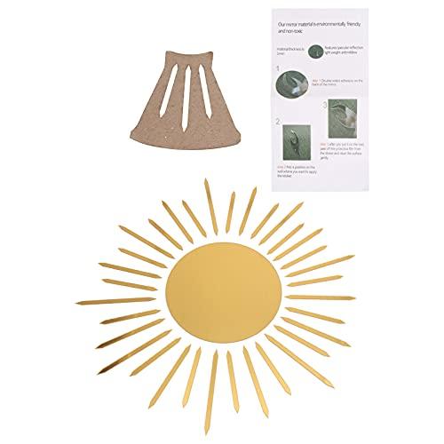 VOSAREA Espejo de Acrílico Extraíble Adhesivo de Pared 3D Sol Calcomanías Autoadhesivas Espejo de Vidrio Espejos Decorativos para La Oficina en Casa 15Cm
