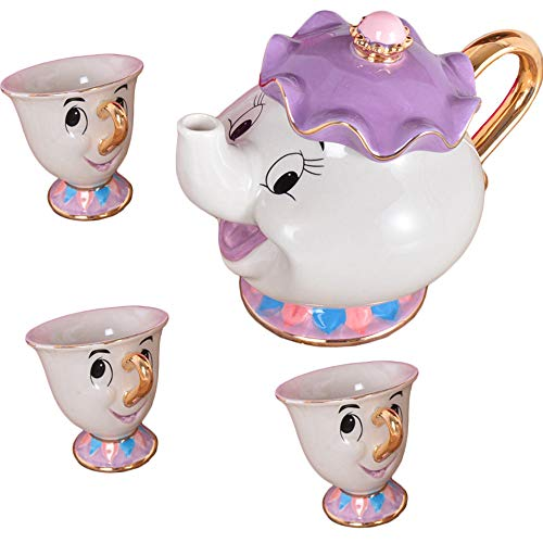 New Cartoon Beauty and Beast Teapot Cup Lady Lady Cup Potato Teapot Cup Set of Cute Christmas Gifts (3)