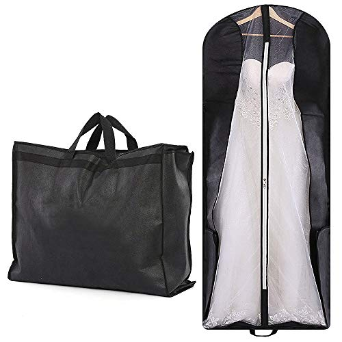 70' Bridal Wedding Gown Garment Bag Extra Large Foldable Portable Travel Dress Cover Hanging Luggage with Pockets for Womens, 8' Gusseted Black