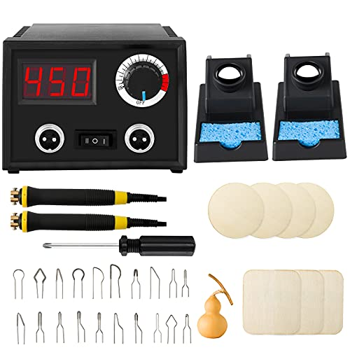 Pyrography Wood Burning Kit Professional Wood Burning Tool with 20Pcs Wire Tips Wood Burner Woodburning Kits for Adults, Beginners, Kids(Dubble Pen)