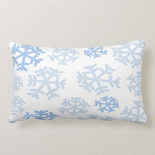 Perfecone Home Improvement - Funda de almohada para sofá y coche, diseño de copos de nieve, color blanco, 1 paquete de 50 x 65 cm