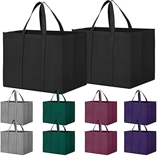 WISELIFE Reusable Grocery Shopping Bags 10 Pack Large Foldable Tote Bags Bulk,Eco Produce Bags with Long Handle for Shopping Groceries Clothes(5 Assorted Colors)