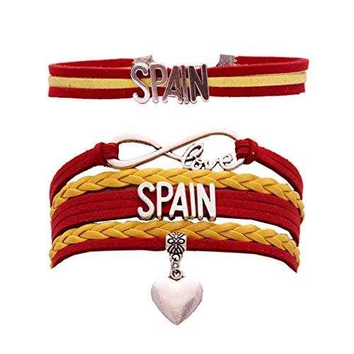 Holibanna Patriota Pulsera España Pulsera Carta Pulsera Joyería Brazalete Regalos para Mujer Hombre Competición Deportiva Decoración 2 Piezas