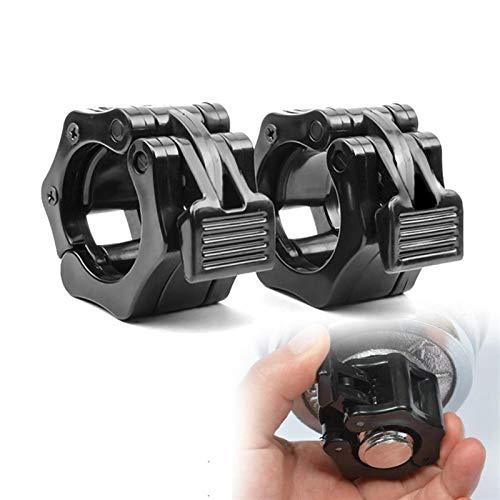 Durable 1 Par Collares Collar de apriete Barra Dumbell Clips de la Barra del Peso Locks1 Pulgadas Fitness Culturismo Piezas (Color : Black)