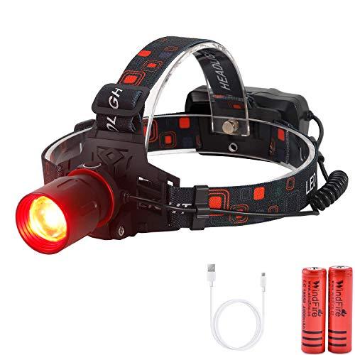 LED Scheinwerfer, 800 Lumen Wiederaufladbarer Rotlicht Grünes Licht Stirnlampe Kopflampe mit 3 Lichtmodi, Wasserdicht Ideal zum Laufen, Campen, Angeln, Joggen, Batterien inklusive (Rotlicht)