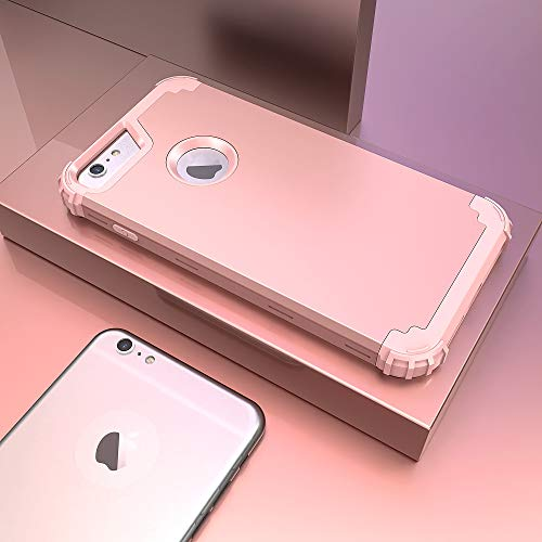 iPhone 6S Plus Case with Tempered Glass Screen Protector, iPhone 6 Plus Case, IDweel 3 in 1 Shockproof Slim Hybrid Heavy Duty Hard PC Cover Soft Silicone Rugged Bumper Full Body Case,(Rose Gold)