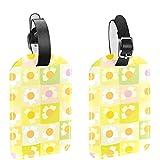 Etiquetas de equipaje, cuero personalizado etiqueta de equipaje conjunto de etiquetas de identificación de equipaje accesorios de viaje - Set de 2 margaritas amarillas