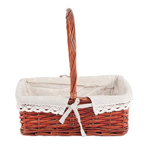 Cestas de picnic de mimbre con manijas, cesta de picnic tejido de picnic bolsa de picnic regalo boda cestas oval sauce cesta ropa interior cesta pascua cesta manta baño juguete y niños juguete