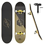 M Merkapa 31' Pro Complete Skateboard 7 Layer Canadian Maple Double Kick Deck Concave Skateboards with Tool(Lightning)