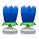 PRETYZOOM Bougie de Lotus Musical Gâteau d'anniversaire Décoration Bougie Rotative Fleur Gâteau d'anniversaire Jouet pour La Fête d'anniversaire Décor à La Maison 2Pcs (Bleu)