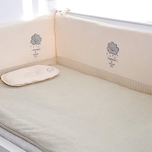 Pare-chocs respirants pour lit de bébé, ensemble de lit rembourré lavable à la machine pour rembourrage de rail de lit de bébé sécuritaire pour bébé fille