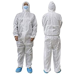 Unisex Men Women White Coverall Suit Protection Protective Disposable Factory Hospital Safety Clothing (175/XL, White)