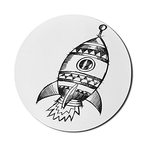 Sketch Art Mouse Pad für Computer, Bleistift gezeichnete inspirierte Raketenzeichnung in monochromem Design, rundes, rutschfestes, dickes, modernes Gaming-Mousepad aus Gummi, 8 'rund, anthrazit und we