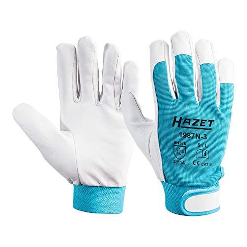 Hazet Echtleder-Arbeitshandschuhe (hochwertiges Ziegenleder, Größe L) 1987N-3, Hellblau