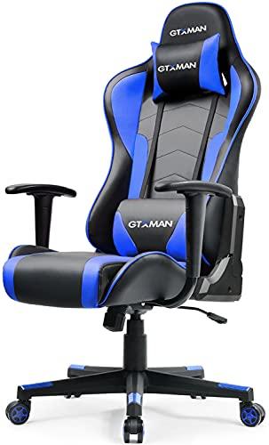 MTY ゲーミングチェア オフィスチェア パソコンチェア デスクチェア リクライニングチェア PCチェア 椅子 ゲーム 事務 多機能 高さ調節可能 腰痛対策 人間工学 (ブルー)