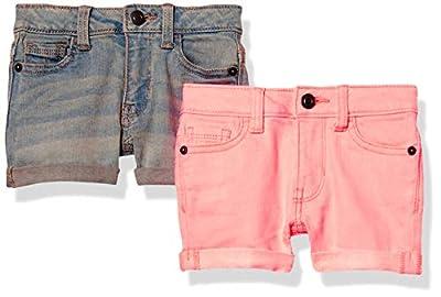 Amazon Essentials 2-Pack Girls Denim Jean Short, Neon Pink/Light Wash, 8