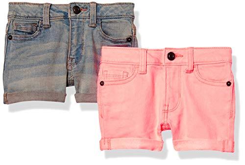Amazon Essentials 2-Pack Girls Jean Denim-Shorts, Neon Pink/Light Wash, 7 Jahre, 2er-Pack