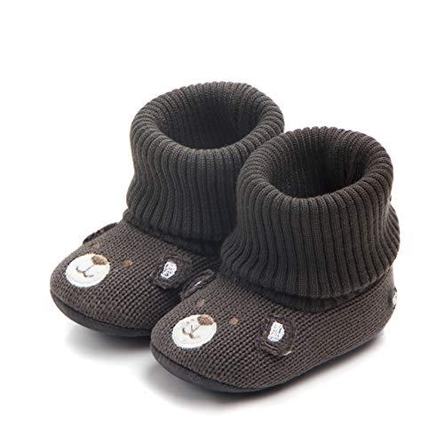 Bebé Botines Invierno Zapatos Calcetines Antideslizantes Suela Blanda Tejido de Punto Botas Zapatillas Recien Nacido Lindo Regalo 6-12 meses Marrón