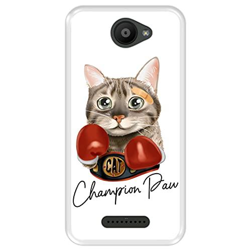 Hapdey silikon Hülle für [ Bq Aquaris U - U Lite ] Design [ Sportliche süße Boxkatze - Champion Paw ] Transparenz Flexibles TPU