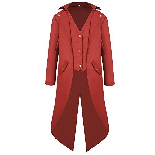 Jfhrfged Elegante Steampunk Goth Mantel Soft für Herren Gotica Frock Coat Uniforme in Kostüm-Kostüm Praty Outwear, Rosso, XXL -EU