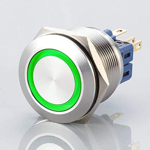 Flacher LED Schalter - Durchmesser Ø 25 mm - aus V2A Edelstahl - staub- und wasserdicht nach IP67 Schutzstandard AC/DC - witterungsbeständig und langlebig - Grün