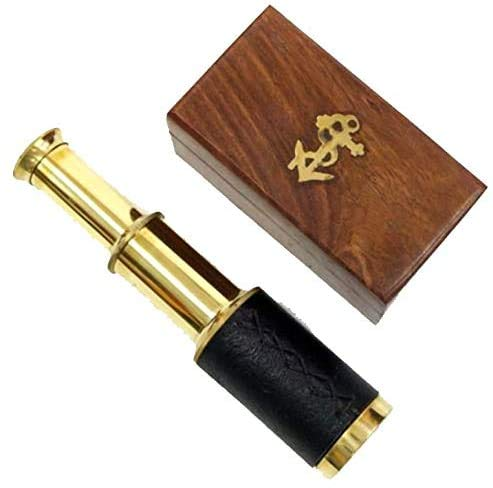 """Captains 6"""" Handheld Brass Telescope with Wooden Box-Pirate Navigation with Anchor Wooden Box"""