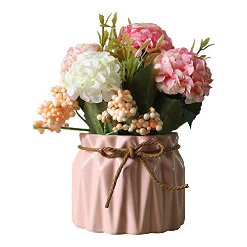 Ceramic Vase with Flowers, Geometric Matt Vase | Artificial Silk Flowers Bouquets Rose Flowers Decoration Vase Ideal for Living Room or Kitchen, Table Decoration or as an Ornament, Blue/Pink (Pink)