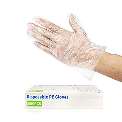 500PCS Disposable Plastic Gloves, Latex Free Powder Free Clear Polyethylene Hand Gloves Non-Sterile for Cleaning- Cooking, Hair Coloring, Dishwashing, Food Handling, Large