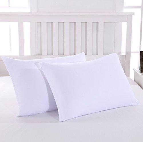 MOHAP Lot de 2- Taies d'oreiller Blanc 50x70cm Housse d'oreiller avec Une Fermeture Eclair en Microfibre