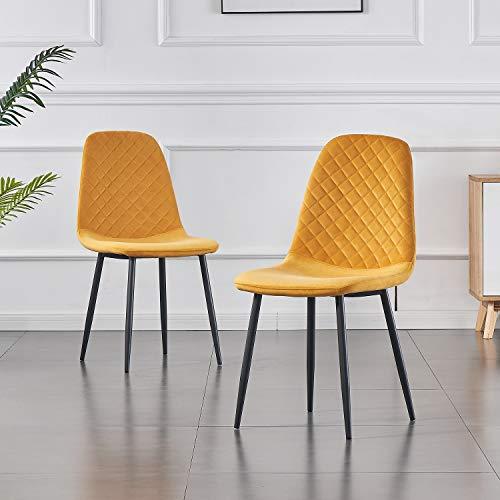 JYMTOM Esszimmerstühle 2er 4er Set Küchenstuhl Samt Stoffsitz Wohnzimmerstuhl Sessel mit Metallbeinen Rückenlehne...