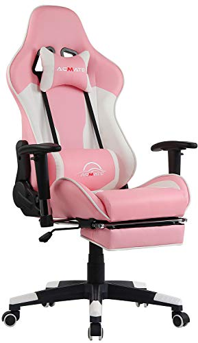 Acmate Pink Gaming Chair Massage Gaming Computer Chair with Footrest Reclining Home Office Chair Racing Style Gamer Chair High Back Gaming Desk Chair with Headrest and Lumbar Support (Pink)