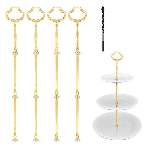 ZoomSky 4 Metallstangen Mittellochausstech Stabil Etagerenstangen Crown Motive 2 bis 3 Etage Etagenplatte mit Glasboher zum Lochen für Hochzeitstorte Tortenständer Buffet Torten Halter 21cm