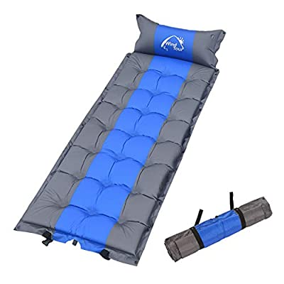 Wind Tour Sleeping Pad Self Inflating with Pillow for Camping - Lightweight Air Mattress for Backpacking, Hiking, Traveling (Blue)