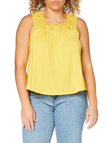 Superdry Woven Trim Vest Camiseta de Tirantes, Amarillo (Springs Yellow Qli), S (Talla del Fabricante:10) para Mujer