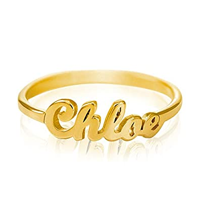 VENACOLY Personalized Name Ring Custom Tiny Initial Name Ring Promise Ring for Her (Gold Plated Copper)