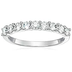 Vir Jewels 3/4 cttw Certified I1-I2 Diamond Wedding Band in 14K White Gold 9 Stones