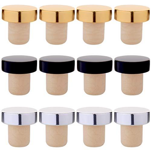 Tastebar Wine Stoppers,12PCS Wine Corks,T-plug Cork,Reusable Red Wine Bottle Stopper,Sealing Plug Bottle Cap,Gold Silver and Black (4 of Each)