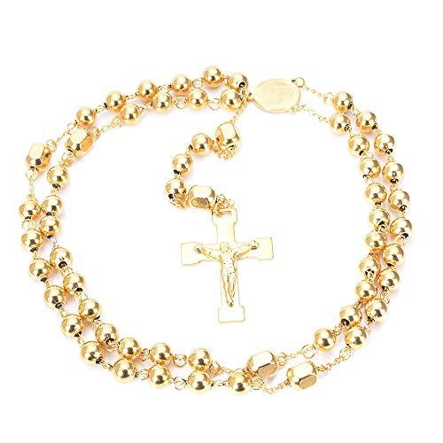Italien Gold Farbe Perlen Langen Rosenkranz Halskette Für Frauen Männer Edelstahl Jesus Christus Kreuz Anhänger Pullover Kette Unisex