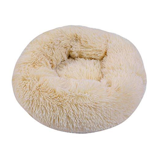 NIBESSER Haustierbett Hundebett Katzenbett Rundes Plüsch Hundesofa Katzensofa Kissen in Doughnut-Form
