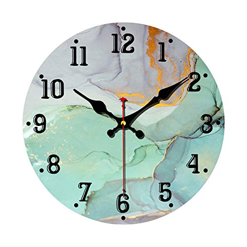 Green and Gold Marble Texture Wall Clock Non Ticking Silent 10 Inch Art Clock for Living Room Bedroom Office School Home Decor