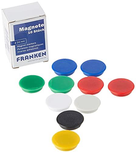 Franken HM20 99 - Haftmagnet für 300 g, Ø 24 mm, verschiedene Farben, 10 Stück