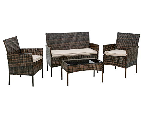 PayLessHere Patio Furniture 4 Pieces Outdoor Indoor Use Rattan Chairs Wicker Conversation Sets for Backyard Lawn Porch Garden Balcony,Brown