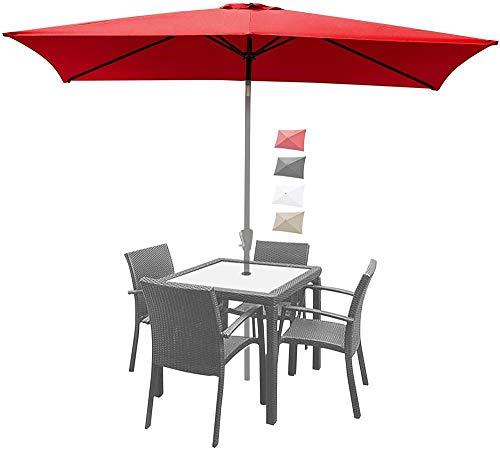 YRRA 9.8x6.5ft Regenschirm-Abdeckung Ersatzdach-Markt-Regenschirm-Spitzen-Regenschirm-Baldachin mit 6 Rippen (nur Baldachin)-rot