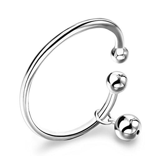 CS zilveren armband gladde bel hanger 999 minimalistische armband meisjes accessoires vakantie cadeau open grootte verstelbaar