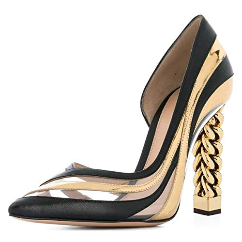 FSJ Women Gold Metal Chain Chunky High Heel Pointed Toe Slip On Fashion Pumps Shoes Size 12 Gold Clear