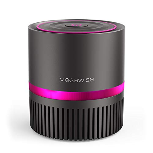 MEGAWISE Desktop Air Purifier for Home, Office, and Bedroom, True HEPA Filter Air Cleaner With Optional Night Light for Pets, Smoke, Asthma, Dust, and Pollen, Available for California.