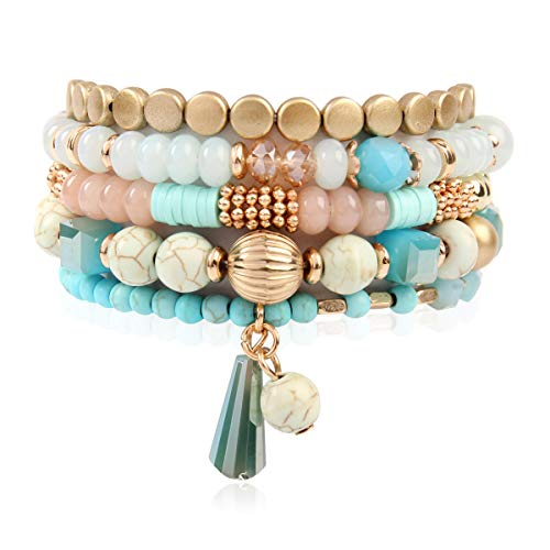 RIAH FASHION Bohemian Mix Bead Multi Layer Versatile Statement Bracelets - Stackable Beaded Strand Stretch Bangles Sparkly Crystal, Tassel Charm (Turquoise)