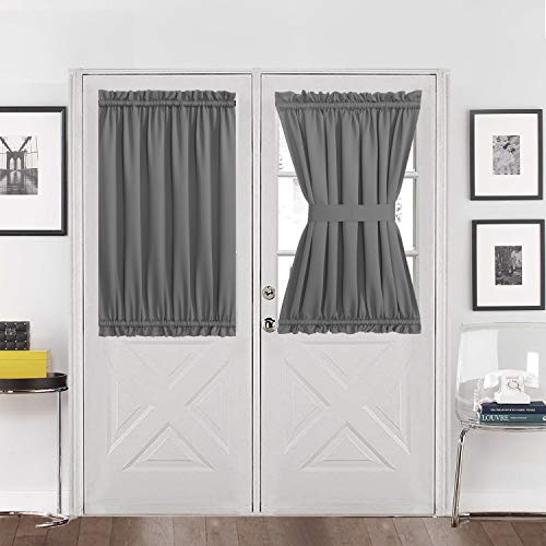 Aquazolax Blackout Rod Pockets Door Window Curtain Back Door Side Panels for Privacy - 54W x 40L Blackout Window Treatment Curtains Drapery for French Door - 1 Panel, Grey