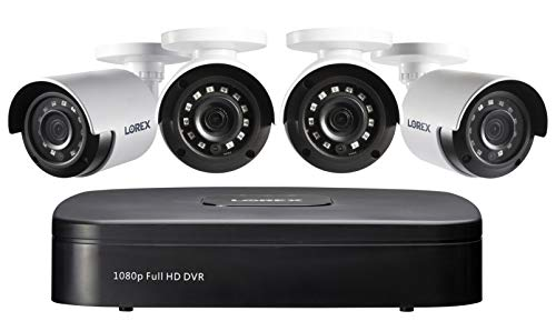 Lorex 1080p Wired Weatherproof Security System, 4 x 1080p HD Bullet Cameras w/with 4-Channel 1TB DVR | IR Night Vision | Advanced Motion Detection & Smart Search (4 Pack)