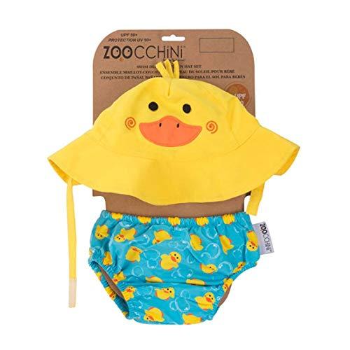 Zoocchini - Set Baby Costumino Contenitivo e Cappellino, Multicolore (Anatra), L (12-24 mesi)